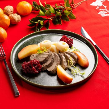 Roast duck with apples, red beets with white sesame, Silesian dumplings