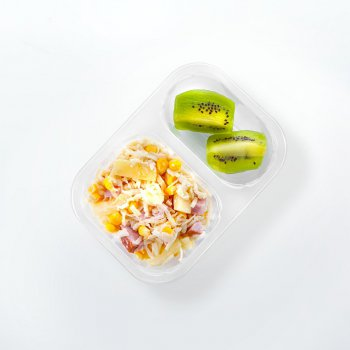 Fruit and vegetable salad with ham and sweetcorn