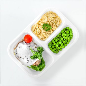 Salisbury steak with sunflower seeds, green peas, millet groats