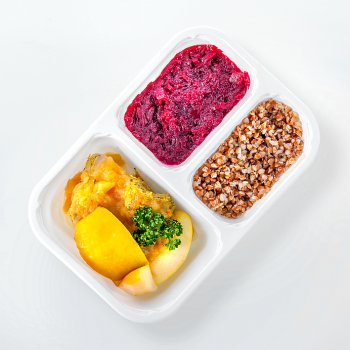 Roast turkey with apples, beets, buckwheat groats