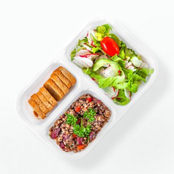 Buckwheat, champignons and vegetable salad, mixed vegetables, wholemeal rusks