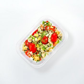 Millet salad with peppers and tomatoes