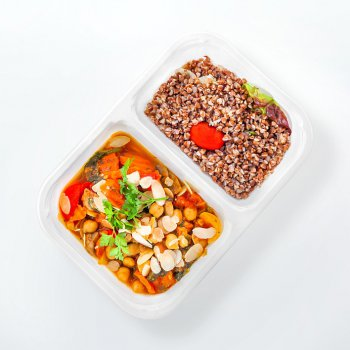 Chickpea stew with herbs and almonds, buckwheat groats